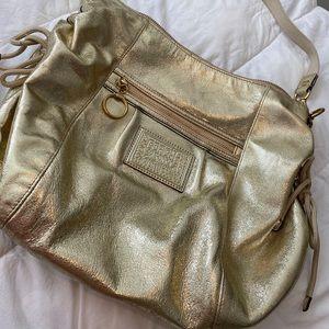 Coach Poppy Metallic Leather Shoulder Bag